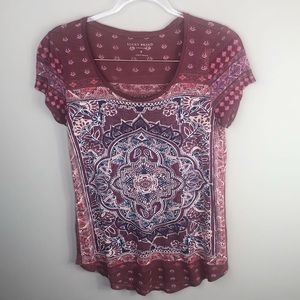 Lucky Brand Tops - Lucky Brand Maroon Paisley Top